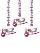 Geburtstags-Aufhängedekoration für Mädchen 3 Stück rosa-weiss
