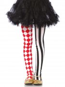 Harlekin Strumpfhose für Kinder Clown schwarz-rot-weiss
