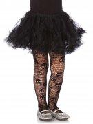 Totenkopf Halloween Netz-Strumpfhose für Kinder schwarz