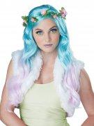 Fee Langhaar-Perücke mit Blumenhaarband türkis-flieder