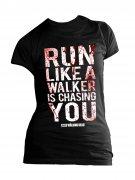 The Walking Dead Shirt für Damen Run like a Walker Girly Shirt schwarz