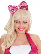 Pailletten-Haarreif mit Glitzer-Schleife pink