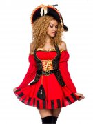 Elegante Piratin-Kapitänin Damenkostüm rot-schwarz-gold