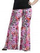 Süsse Hippie Schlaghose Flower Power schwarz-pink