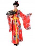 Geisha Damenkostüm Japanerin rot-bunt
