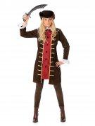 Piraten-Kapitänin Damenkostüm braun-gold