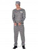 Sträfling Kostüm Gefangener schwarz-weiss