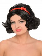 Schneewittchen Märchen Perücke mit Haarband schwarz-rot