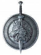 Krieger Schwert und Schild Wolf Ritter silber-schwarz