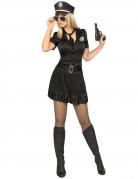 Heisse Polizistin Damenkostüm Cop schwarz-silber