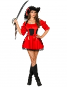 Heisse Barock-Piratin-Damenkostüm Freibeuterin schwarz-rot
