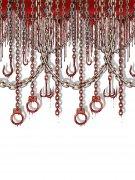 Blutige Handschellen Wandfolie Halloween Party-Deko grau-rot 914x122cm