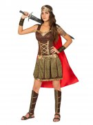 Elegante Gladiatorin Damenkostüm Antike braun-gold