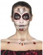 Tag der Toten Make-Up Tattoo-Set schwarz-rot-weiss