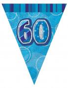 Geburtstagsparty Wimpelgirlande 60 blau-silber 274cm