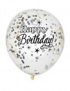 Happy Birthday Luftballon-Set Geburtstagsballons mit Konfetti weiss-silber-schwarz