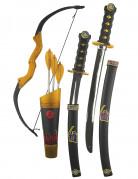 Ninja Waffen-Set für Kinder Kostüm-Accessoires schwarz-bunt