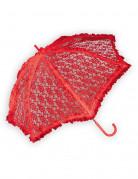 Schirm mit Spitze für Damen Kostümzubehör rot