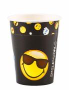 Emoticons™ Trinkbecher Partybecher 8 Stück gelb-schwarz