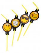 Strohhalme Emoticons™ Smiley-Trinkstäbchen 8 Stück gelb-schwarz