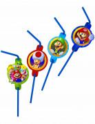 Super Mario™ Strohhalme Lizenzartikel 8 Stück blau-bunt 7cm