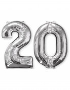 Aluminium-Geburtstagsballon Zahl 20 silber 66cm