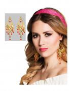 Orientalische Tänzerin Ohrringe gold-rot