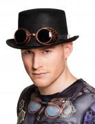 Zylinder für Erwachsene - Steampunk mit Aviator-Brille - Schwarz/Bronze