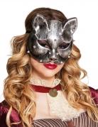 Katzenmaske Steampunk-Erwachsenenmaske silber