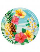 Hawaii-Teller Sommerparty-Teller Blumen und Kokosnuss 6 Stück bunt 23cm