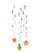 Hawaii Hängedeko Dekospiralen 3 Stück bunt 60cm