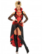 Verführerisches Vampir-Kostüm für Damen Halloween-Kostüm schwarz-rot