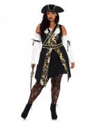 Schickes Piratinnen-Damenkostüm schwarz-gold