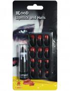 Halloween-Set Lippenstift und Kunstnägel schwarz-rot