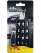Halloween-Set Lippenstift und künstliche Nägel schwarz-weiss