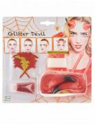 Teufel-Schminkset mit Hörnern 7-teilig rot