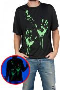 T-Shirt Halloween mit leuchtenden Handabrücken schwarz-gün