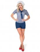 Matrosin-Damenkostüm Junggesellinnen-Kostüm blau-weiss