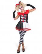Damenkostüm Harlekin schwarz-weiß-rot