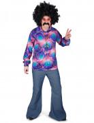 Disco-Herrenhemd Hippie-Partyhemd lila-bunt