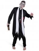 Schauriger Zombie-Priester Halloween Herrenkostüm schwarz-weiss