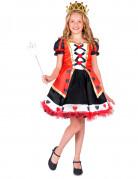 Herzkönigin-Mädchenkostüm schwarz-weiß-rot