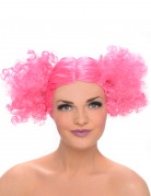 Perücke mit lockigen Zöpfen Kostüm-Accessoire pink