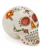 Halloweendekoration Tag der Toten Schädel weiss-bunt 15x10cm