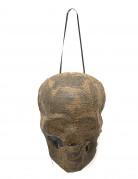 Halloween Dekoration Mumifizierter Schädel mit Leuchtaugen beige-schwarz 20cm
