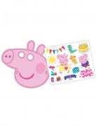 Peppa Wutz™ Masken und Sticker Set für Kindergeburtstage 6 Stück bunt