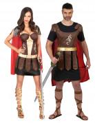 Gladiatoren-Paarkostüm Antike-Kostüm für Paare braun-rot