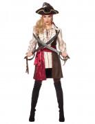 Sexy Piratinnen-Damenkostüm braun-beige-rot