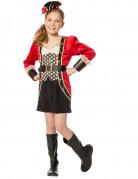 Piratenkapitänin Mädchenkostüm rot-schwarz-gold
