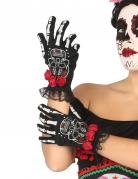 Dia de los Muertos kurze Skelett-Handschuhe